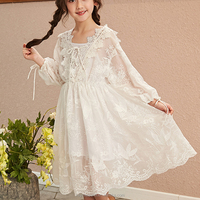 Long sleeves girls boutique clothing lace dress