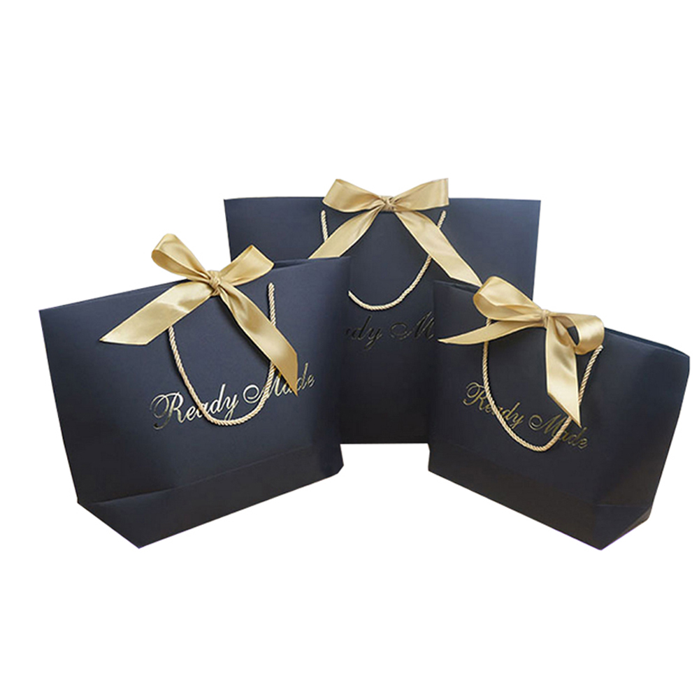 bowknot wedding usage printed paper carrying fancy paper bag with logo