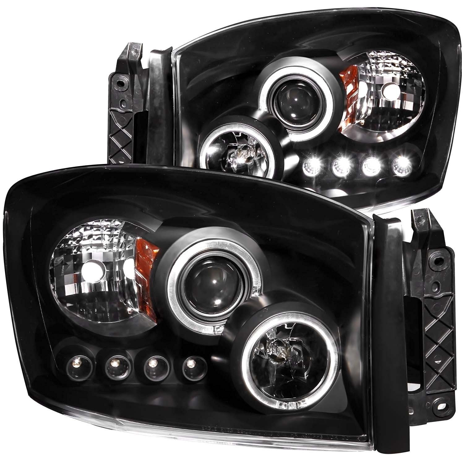 FRONT HEADLIGHT Dodge RAM 1500, Dodge RAM 2500, Dodge RAM 3500 2500/3500 2008 PROJECTOR HALO BLACK CLEAR AMBER