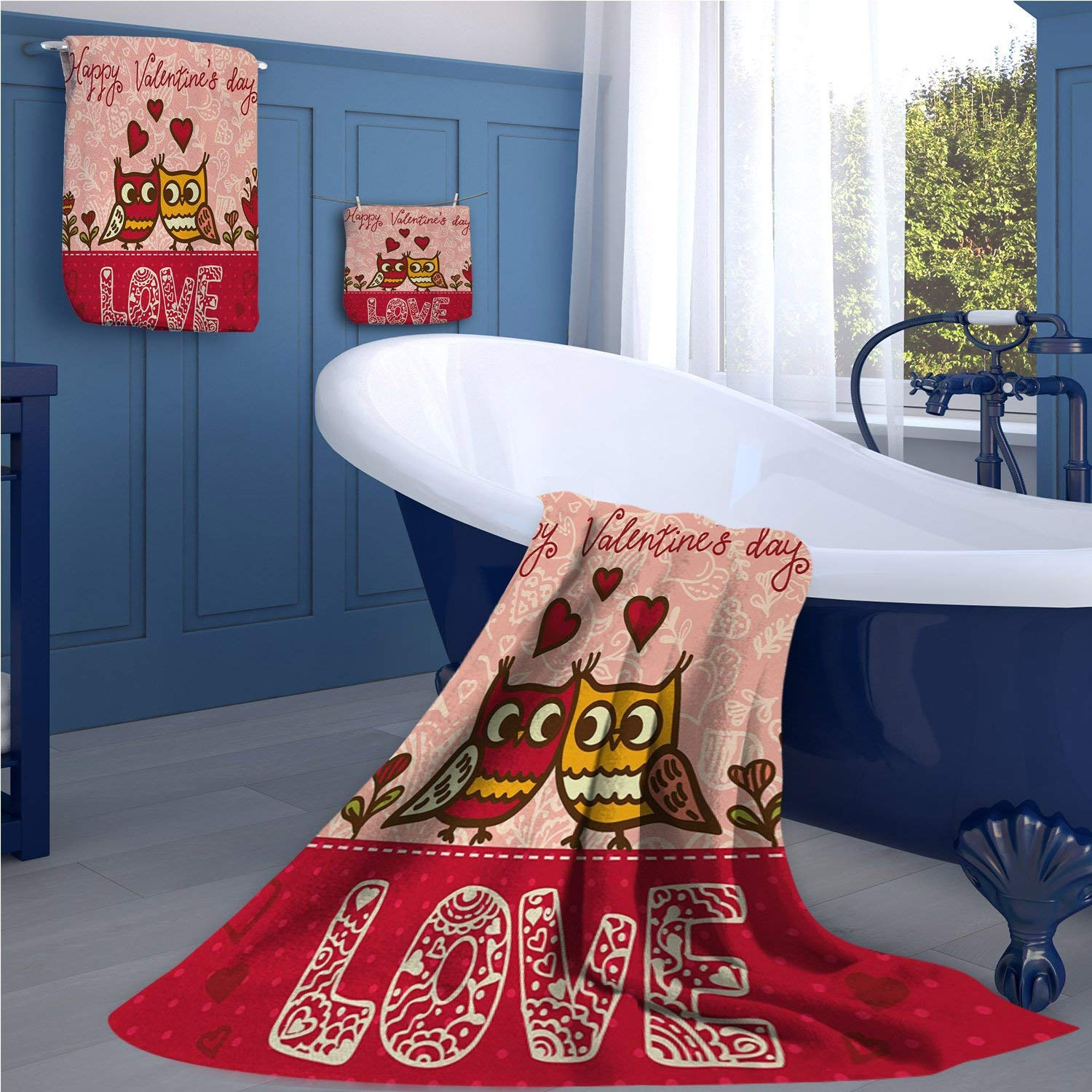 familytaste Valentines Day Long Bathroom Accessories Set Owls in Love Print Cute Partners Couples Boho Style Hearts Flowers Dots Custom towel set Pink Red Yellow
