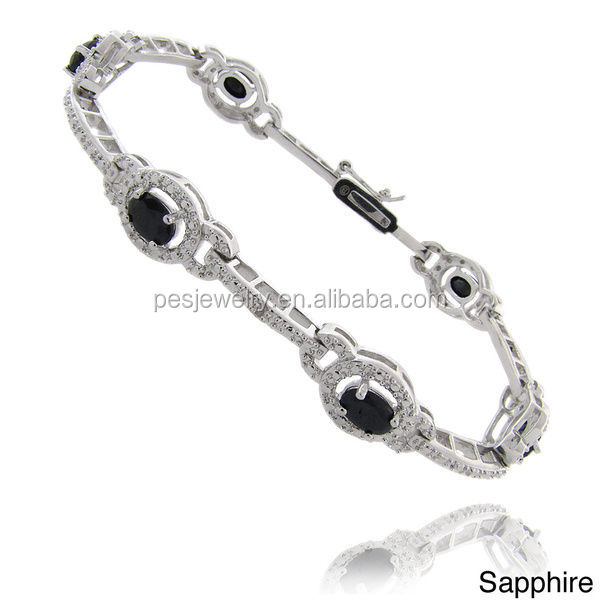PES fine Jewelry! Oval Shape Gemstone and Diamond Accent Charm Bracelet (PES90-082)
