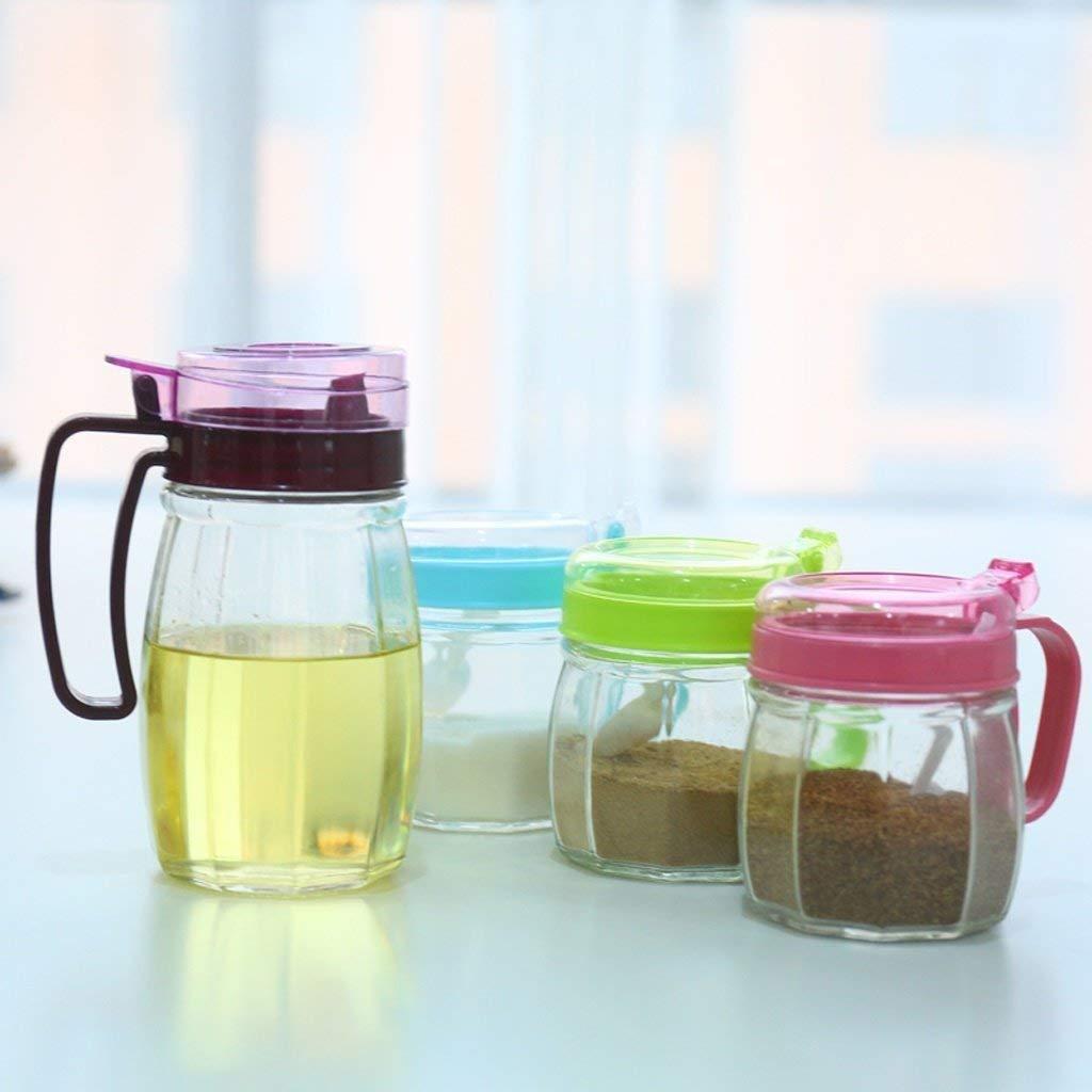 PLLP Seasoning Bottle Kitchenware Glass Seasoning Boxes Seasoning Tanks Creative Seasoning Boxes Oil Tank Salt Tanks Pepper Tanks Strap Boxes Set (4 Assemblies)