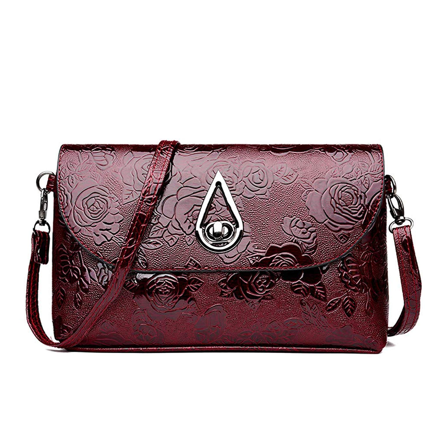 Fashion! Vintage Bags,Women Leather Crossbody Bag Flower Pattern Messenger Bag Retro Shoulder Bag