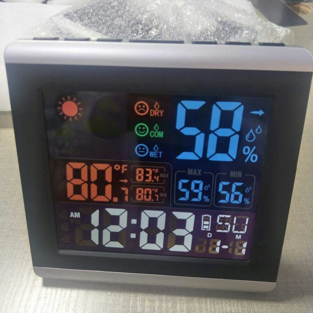Grande display LCD Colorato per la casa indoor outdoor digital stazione meteo orologio