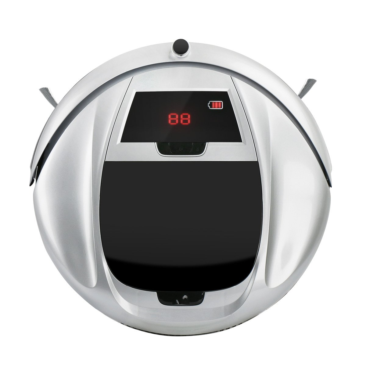 Robotic Vacuum Cleaner, Robot Vacuum with 860PA Strong Suction, Auto-Charging Robotic Vacuum with Dock Station and Remote Control, Double Filter for Pet Hair, Low-pile Carpet and Hard Floor(Silver)