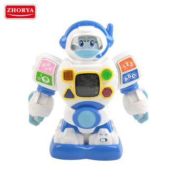 Zhorya Intelligence education cartoon robot kids english alphabet number learning machine toy with colorful light