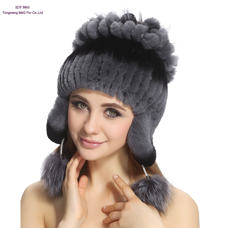 Women Genuine Real Rex Rabbit Fur Beanies Winter Warm Real Fur Knitted Hats Women Skullies & Beanies Rex Rabbit fur Cap BG80237