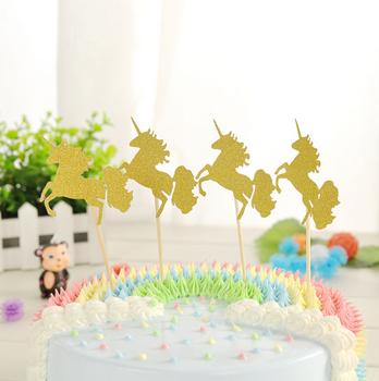 Kreatif Kuda Bentuk Glitter Emas Kecil Cupcake Memilih Bendera Pesta