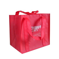 red color jumbo non woven cloth carry bag write white