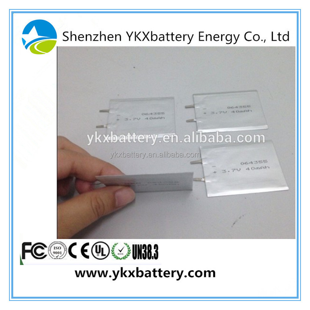 3.7V 40mAh 1mm super slim rechargeable li polymer smart card battery for Thin-film medical devices