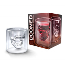 Skull Mug Cup - Pyrex Double Wall Skull Cup - Creative Pirate Thick Mug - 75ml Cocktail, Wine Shot Tumbler For home, Party