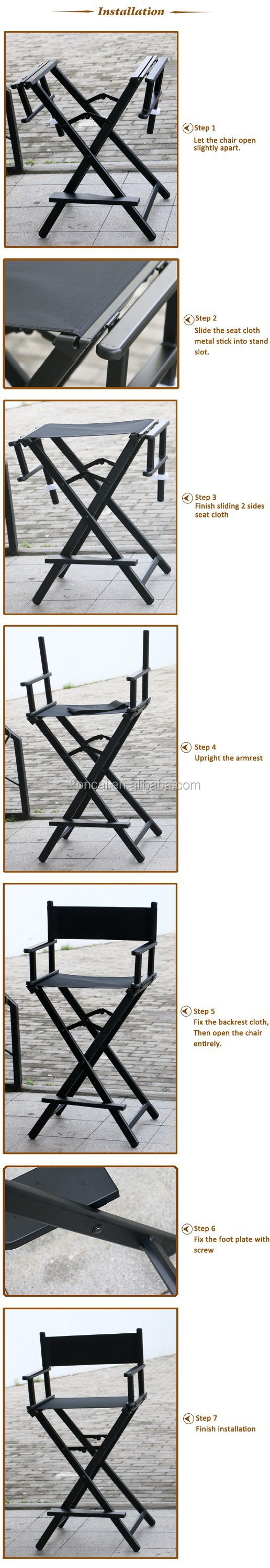 Portable salon hair dressing aluminium makeup chair Aluminum makeup artist chair