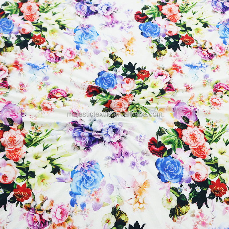 custom digital printing floral printed fabric 100% rayon