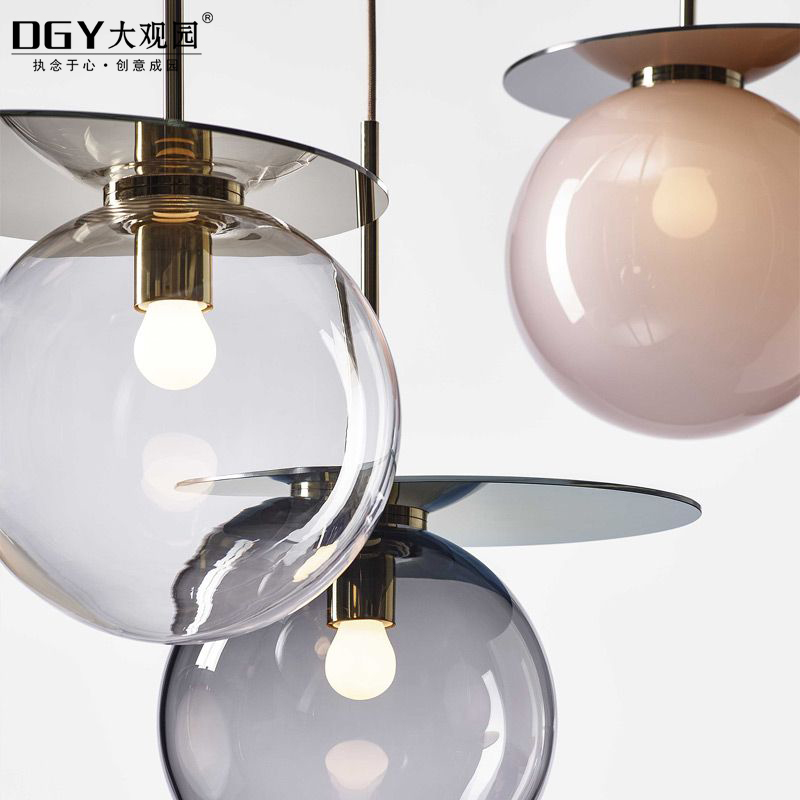 Hand blown 3 balls hanging global glass chandelier pendant lamp for dining room