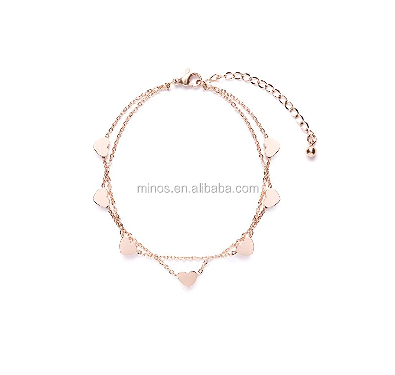 Delicate Bracelet Heart Charms in Rose Gold Double Stranded Bracelet