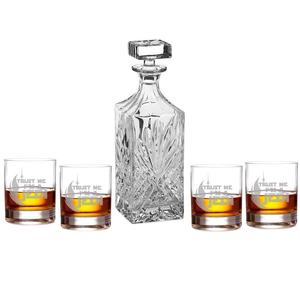 Trust Me I'm A Jedi Decanter with Engraved Rocks Glasses, Set of 5