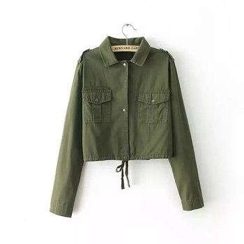 94abe1f0e Fashion Army Green Blank Long Sleeve Ladies Short Jacket,Cropped Jacket -  Buy Ladies Short Jacket,Cropped Jacket,Short Jackets For Women Product on  ...