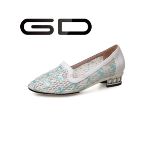GD cute flowers mesh upper paillette ornament flat dress women shoe