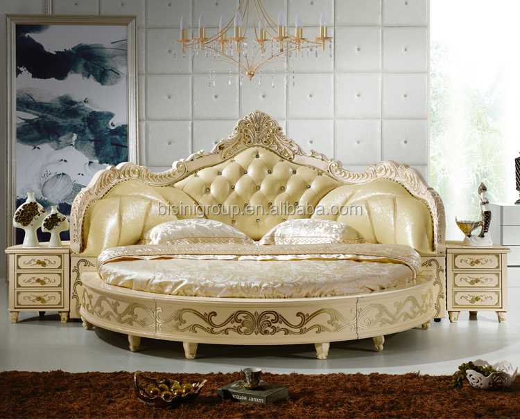 European design antique bedroom round bed king size round for Round bed design