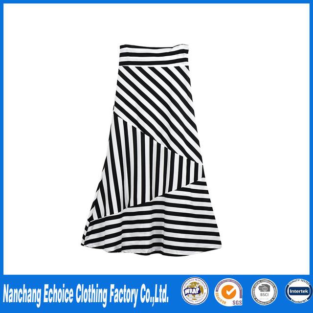 c8954700541 Latest Women Asymmetric High Waist Striped Fold Over Stretch Long Cotton  Maxi White Skirt