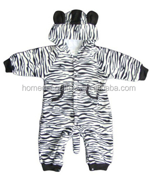 36d3d910214e Wholesale Autumn Winter Cotton Rompers Baby Zebra modeling Rompers long  sleeve hooded clothing coral fleece foot
