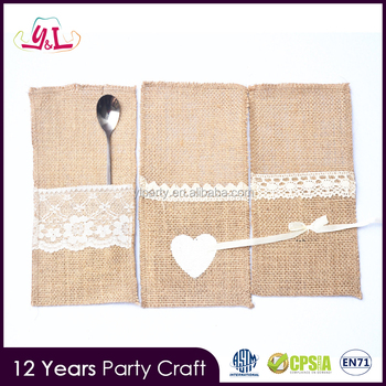 Agenda 2016 Lace Trimming Burlap Knife And Folk Bag Wedding Decoration Wedding
