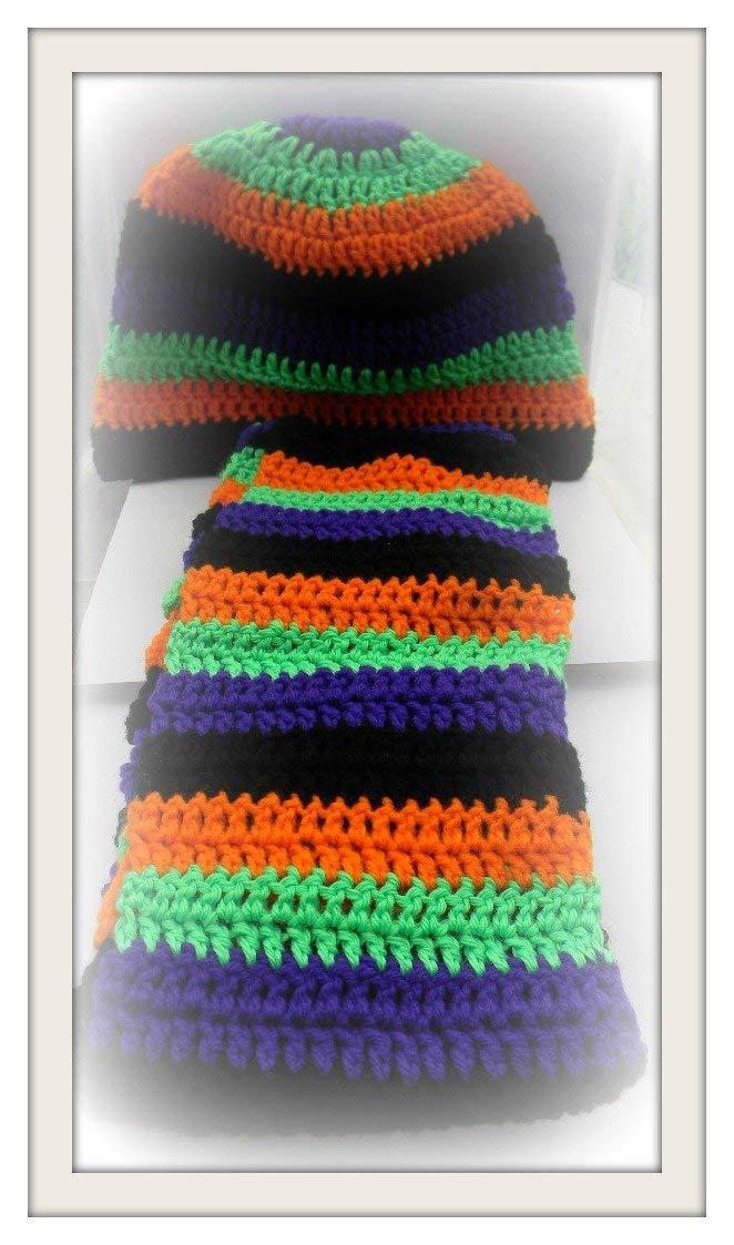 Crochet Hat and Scarf Set, Orange/Purple/Green/Black Winter Hat Halloween Cap & Scarf Boho Hat, Unisex