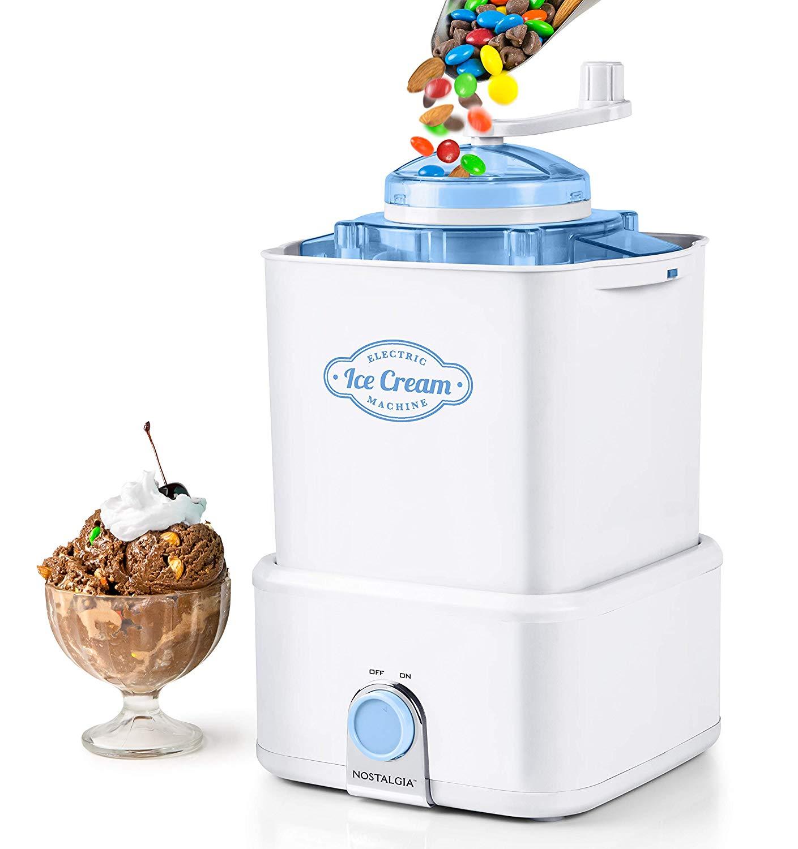 Nostalgia CICM2WB Electric Ice Cream Maker with Candy Crusher, 2-Quart, White/Blue