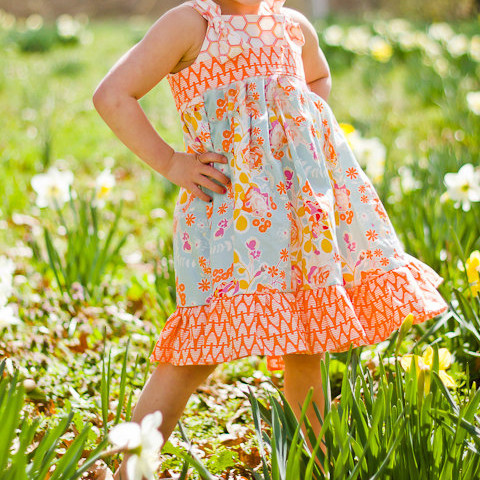 Spring Orange Yellow Blue Floral Knot Twirl Dress Sizes 2-10 Years For Easter