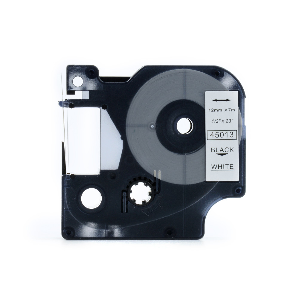 12mm Label Tape 45013 Wit op Zwart voor Dymo-labelprinter