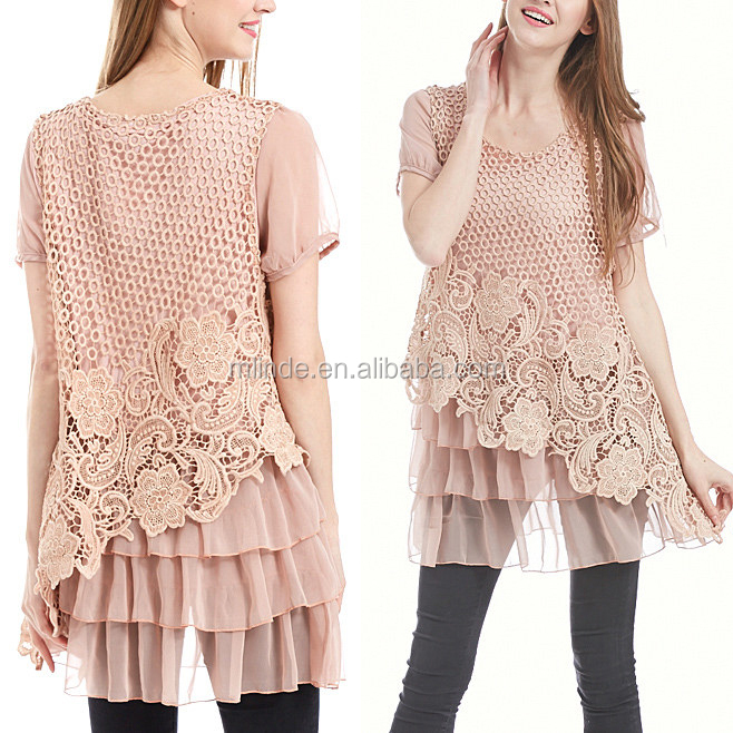 Custom Made Dressy Blouses Women Summer Pink Lace Tiered-Ruffle Tunic Tops with Short Sleeve Round Neck Blouses Tops