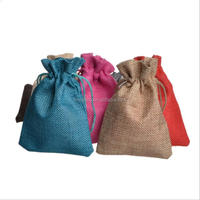 Eco-friendly quality custom jute and cotton line drawstring bags small muslin pouch