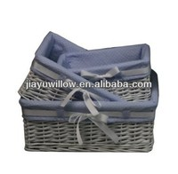 Rectangular White Willow Wicker Hamper Storage Basket (Gift Hamper Basket)