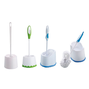 Factory price cheap plastic cleaning toilet brush set strong double hockey WC bathroom clean silicone toilet brush with holder
