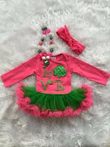 2016 new St.Patrick day baby girls infant romper hot pink green ruffle romper kids wear hot sell with matching headband sets