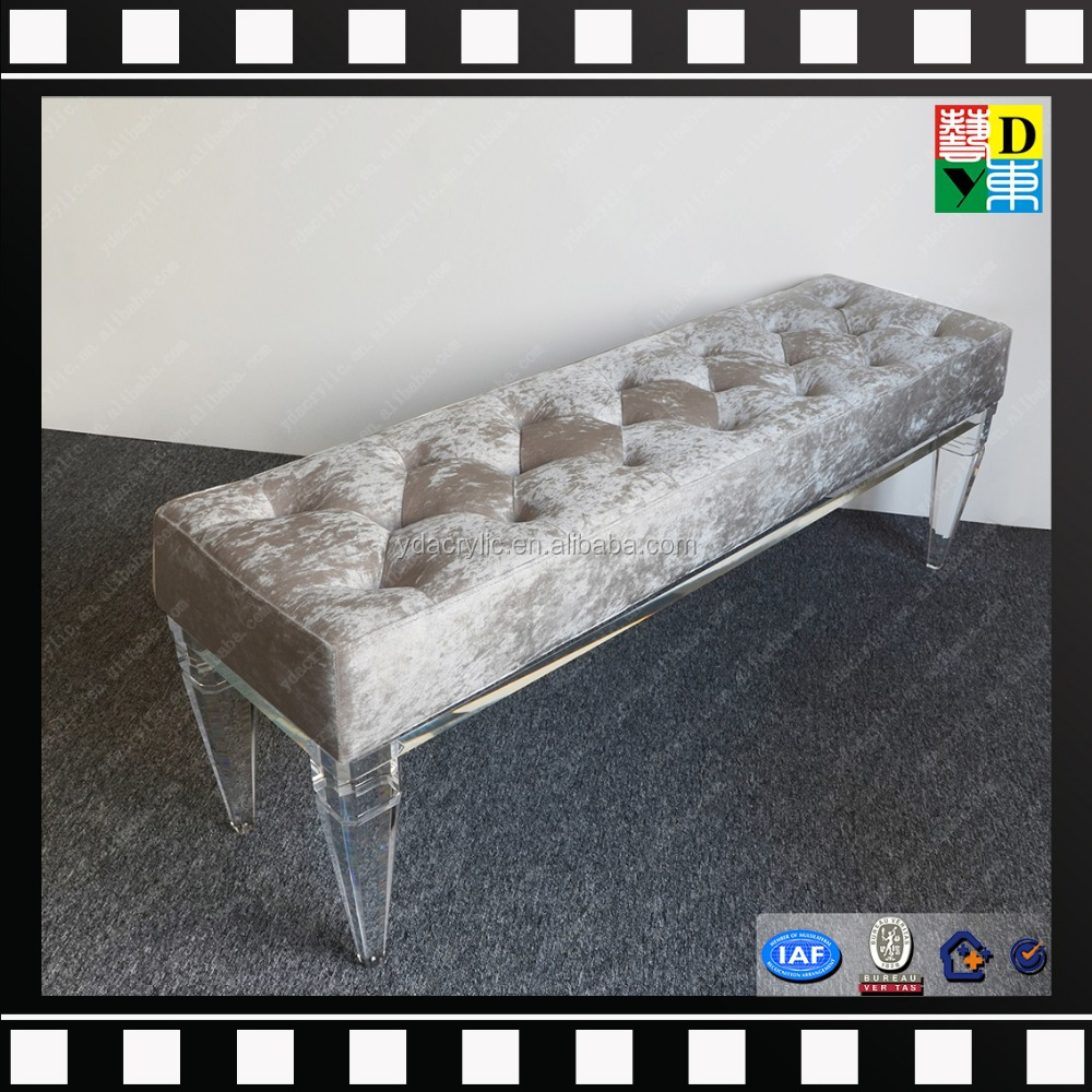 2016 modern clear acrylic bench with cushion, sweet home acrylic furniture