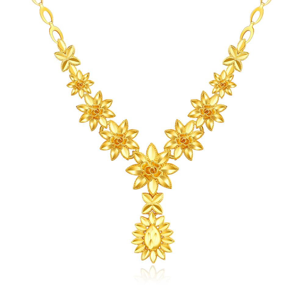 18k Gold Flower Necklace Women Real 18k Gold Jewelry New Design