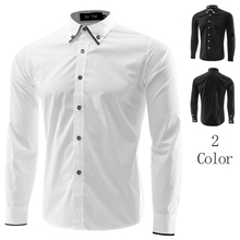 Free Shipping 2013 Mens Slim fit Unique neckline stylish Dress long Sleeve Shirts Mens dress shirts 2colors ,size: M-XXL 5006