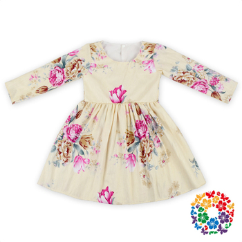 75e9ccabe8de Floral Print Children Cotton Frocks Designs Long Sleeve Pattern Baby ...