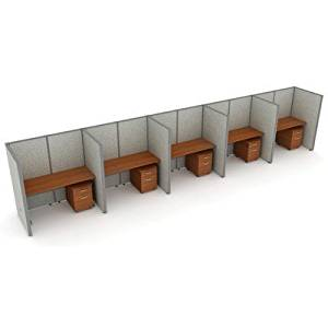 """X5 Privacy Station Panel System 1x5 Configuration Top Finish: Cherry, Panel Color: Beige Vinyl, Size: 47"""" H x 48 - 252.5"""" W"""