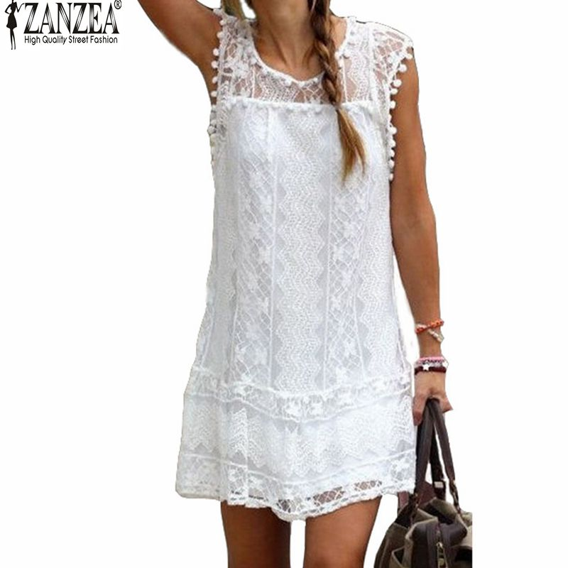 Summer Dress Zanzea 2016 Sexy Women Casual Sleeveless Beach Short Dress Tassel Solid White Mini Lace
