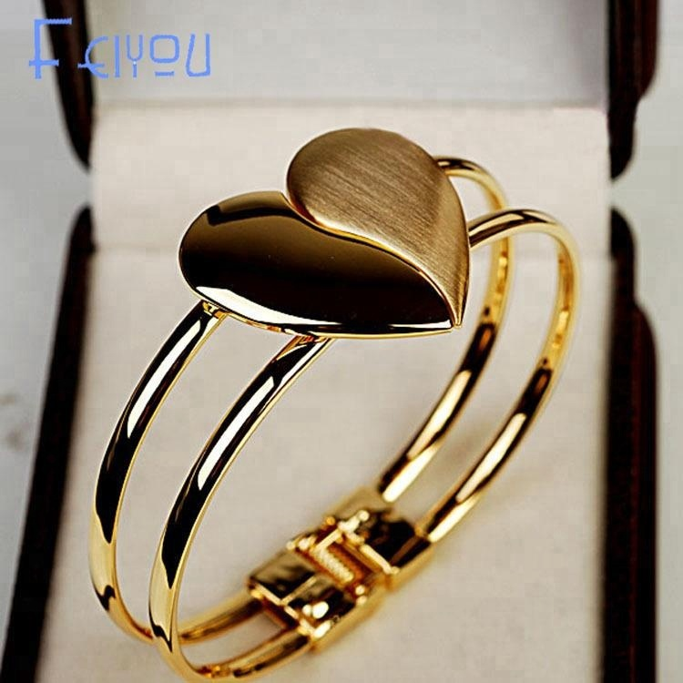 2018 New Crystal Charm Heart Bangle Gold Color Love Bracelets Bangles for Women Fashion Cuff Bracelets