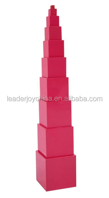 montessori pink tower wooden toys educational montessori