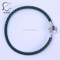 Single layer Wholesale 925 Sterling Silver slasp 3mm Leather bracelet Fits europe charm 590705