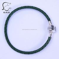 Single layer Wholesale 925 Sterling Silver slasp 3mm Leather bracelet Fits europe charm 590705