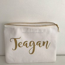 Custom canvas cotton fabric zipper bag with gold logo print
