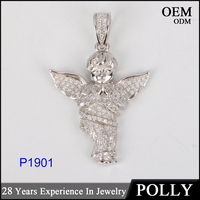 China wholesale necklace micro pave praying cherub angel pendant hiphop bling bling jewelry