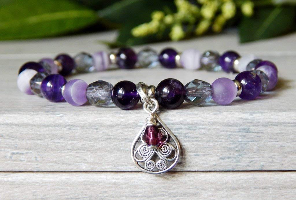 Purple Amethyst Handmade Beaded Gemstone Bracelet for Women High Quality Beads Casual Small Bead Jewelry February Birthstone