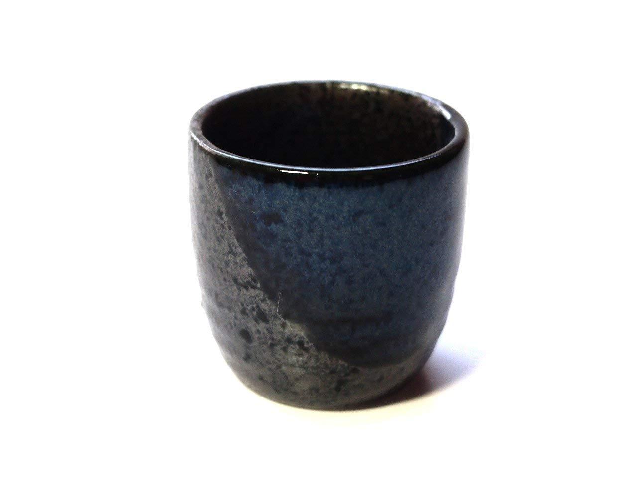 Blue Blow 1.9inch Set of 5 Sake Cups Black porcelain Made in Japan