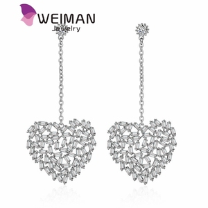 New Arrival Cubic Zirconia Heart Drop Earrings for Women